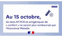 Modification des conditions de remboursement des tests COVID au 15/10/2021